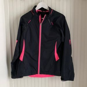 Ron Hill Black and Pink Running Jacket with detachable sleeves and back light